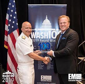 Jim Garrettson, CEO of Executive Mosaic, Presents Vice Adm. Robert Sharp, NGA Director, His First Wash100 Award