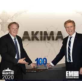 Akima CEO Bill Monet Receives First Wash100 Award From Executive Mosaic CEO Jim Garrettson